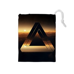 Triangle Penrose Clouds Sunset Drawstring Pouches (Medium)