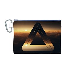 Triangle Penrose Clouds Sunset Canvas Cosmetic Bag (M)
