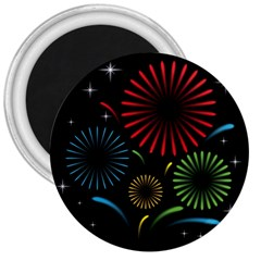 Fireworks With Star Vector 3  Magnets