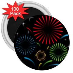 Fireworks With Star Vector 3  Magnets (100 pack)