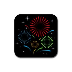 Fireworks With Star Vector Rubber Square Coaster (4 pack)