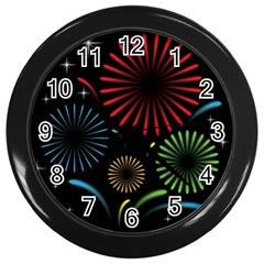Fireworks With Star Vector Wall Clocks (Black)