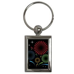 Fireworks With Star Vector Key Chains (Rectangle)