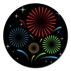 Fireworks With Star Vector Magnet 5  (Round)