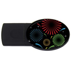 Fireworks With Star Vector USB Flash Drive Oval (2 GB)