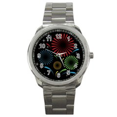 Fireworks With Star Vector Sport Metal Watch