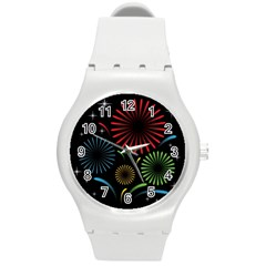 Fireworks With Star Vector Round Plastic Sport Watch (M)