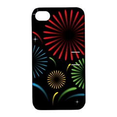 Fireworks With Star Vector Apple iPhone 4/4S Hardshell Case with Stand