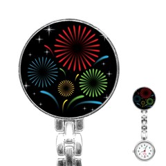 Fireworks With Star Vector Stainless Steel Nurses Watch