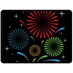 Fireworks With Star Vector Double Sided Fleece Blanket (Large)