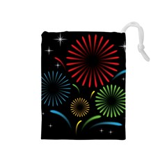 Fireworks With Star Vector Drawstring Pouches (Medium)