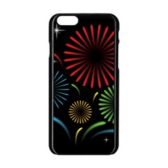 Fireworks With Star Vector Apple iPhone 6/6S Black Enamel Case