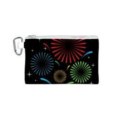 Fireworks With Star Vector Canvas Cosmetic Bag (S)