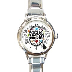 Social Media Computer Internet Typography Text Poster Round Italian Charm Watch