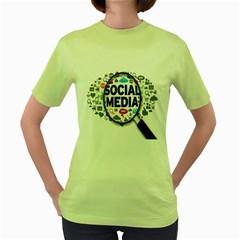 Social Media Computer Internet Typography Text Poster Women s Green T-Shirt