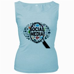 Social Media Computer Internet Typography Text Poster Women s Baby Blue Tank Top