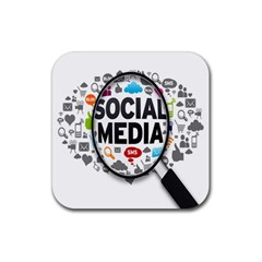 Social Media Computer Internet Typography Text Poster Rubber Square Coaster (4 pack)