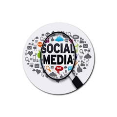 Social Media Computer Internet Typography Text Poster Rubber Round Coaster (4 pack)