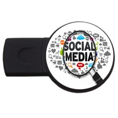 Social Media Computer Internet Typography Text Poster USB Flash Drive Round (1 GB)