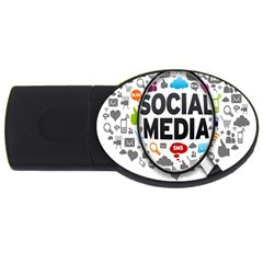 Social Media Computer Internet Typography Text Poster USB Flash Drive Oval (2 GB)