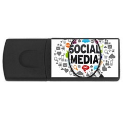 Social Media Computer Internet Typography Text Poster USB Flash Drive Rectangular (2 GB)