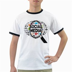 Social Media Computer Internet Typography Text Poster Ringer T-Shirts