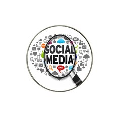 Social Media Computer Internet Typography Text Poster Hat Clip Ball Marker (4 pack)