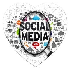 Social Media Computer Internet Typography Text Poster Jigsaw Puzzle (Heart)