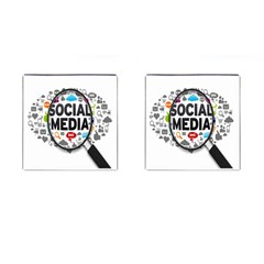 Social Media Computer Internet Typography Text Poster Cufflinks (Square)