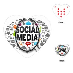 Social Media Computer Internet Typography Text Poster Playing Cards (Heart)