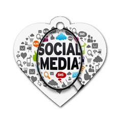 Social Media Computer Internet Typography Text Poster Dog Tag Heart (One Side)