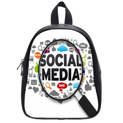 Social Media Computer Internet Typography Text Poster School Bags (Small)