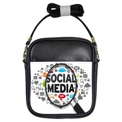 Social Media Computer Internet Typography Text Poster Girls Sling Bags