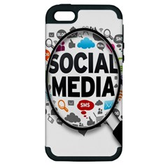 Social Media Computer Internet Typography Text Poster Apple iPhone 5 Hardshell Case (PC+Silicone)