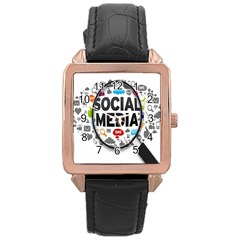 Social Media Computer Internet Typography Text Poster Rose Gold Leather Watch