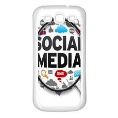 Social Media Computer Internet Typography Text Poster Samsung Galaxy S3 Back Case (White)