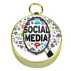 Social Media Computer Internet Typography Text Poster Gold Compasses