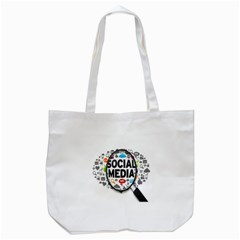 Social Media Computer Internet Typography Text Poster Tote Bag (White)