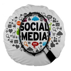 Social Media Computer Internet Typography Text Poster Large 18  Premium Flano Round Cushions