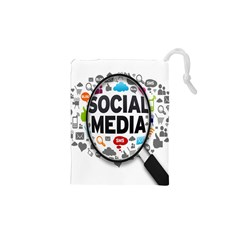 Social Media Computer Internet Typography Text Poster Drawstring Pouches (XS)