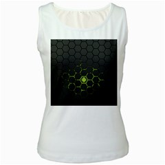 Green Android Honeycomb  Women s White Tank Top