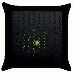 Green Android Honeycomb  Throw Pillow Case (Black)