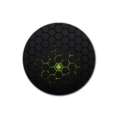 Green Android Honeycomb  Rubber Coaster (Round)