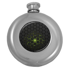 Green Android Honeycomb  Round Hip Flask (5 oz)