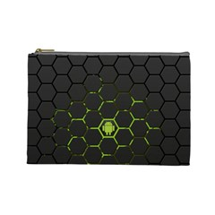 Green Android Honeycomb  Cosmetic Bag (Large)