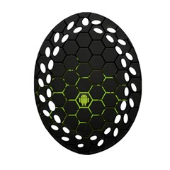 Green Android Honeycomb  Ornament (Oval Filigree)