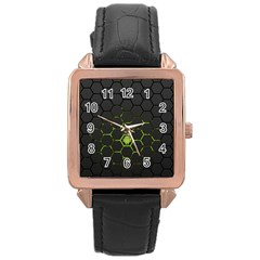 Green Android Honeycomb  Rose Gold Leather Watch
