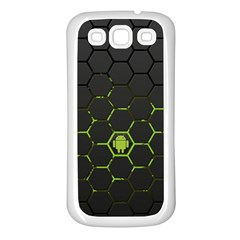 Green Android Honeycomb  Samsung Galaxy S3 Back Case (White)
