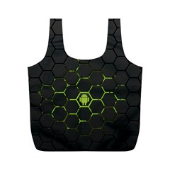 Green Android Honeycomb  Full Print Recycle Bags (M)