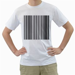 Barcode Pattern Men s T-Shirt (White) (Two Sided)